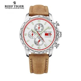 Aurora Racing Chrono White Dial Brown Leather Stainless Steel Men's Quartz Watch