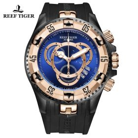 Aurora Hercules II RG Black Rubber Strap Blue Dial Watch