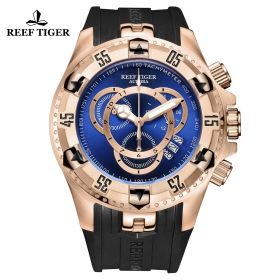Aurora Hercules II Blue Dial RG Black Rubber Strap Watch