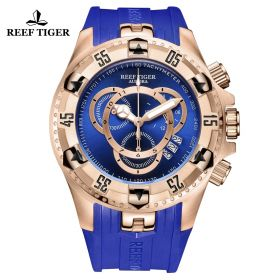 Aurora Hercules II RG Blue Rubber Strap Blue Dial Watch