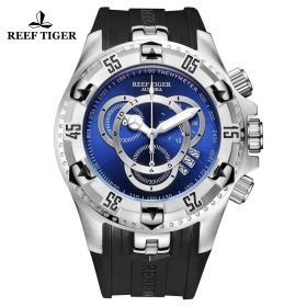 Aurora Hercules II SS Black Rubber Strap Blue Dial Watch