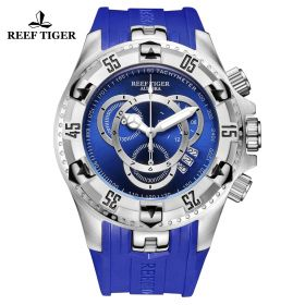 Aurora Hercules II SS Blue Rubber Strap Blue Dial Watch