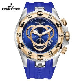 Aurora Hercules II SS/RG Blue Rubber Strap Blue Dial Watch