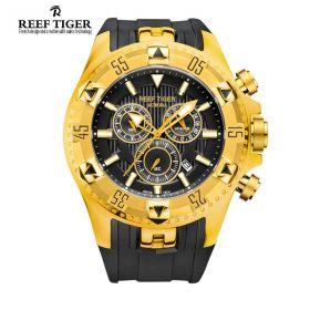 Aurora Hercules Chrono Black Dial Black Rubber Yellow Gold Case Men's Watch