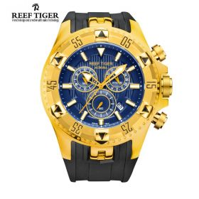 Aurora Hercules Chrono Blue Dial Black Rubber Yellow Gold Case Men's Watch