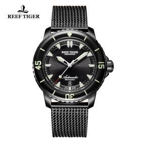 Aurora Deep Ocean Mens Black Dial Black PVD Automatic Watch