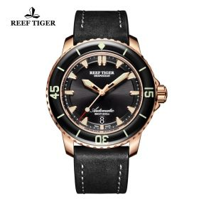 Aurora Deep Ocean Mens Black Dial Black Leather Rose Gold Automatic Watch