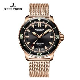 Aurora Deep Ocean Mens Black Dial Rose Gold Automatic Watch