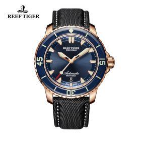 Aurora Deep Ocean Blue Dial Rose Gold Automatic Mens Watch