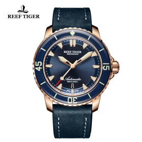 Aurora Deep Ocean Rose Gold Mens Blue Dial Automatic Watch