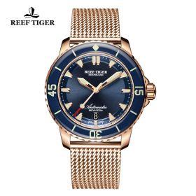 Aurora Deep Ocean Mens Blue Dial Rose Gold Automatic Watch