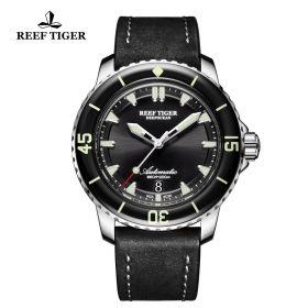 Aurora Deep Ocean Black Dial Mens Solid Steel Automatic Watch