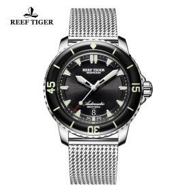 Aurora Deep Ocean Mens Black Dial Stainless Steel Automatic Watch