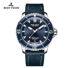 Aurora Deep Ocean Mens Blue Dial Solid Steel Automatic Watch