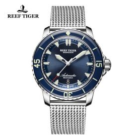 Aurora Deep Ocean Mens Blue Dial Stainless Steel Automatic Watch