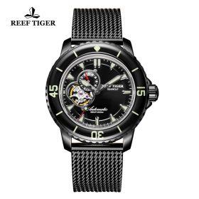 Aurora Sea Wolf Black Dial Stainless Steel Case Black Steel Watch