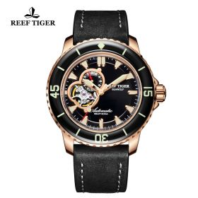 Aurora Sea Wolf Mens Black Dial Rose Gold Automatic Watch
