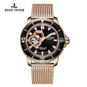 Aurora Sea Wolf Black Dial Rose Gold Case Automatic Watch