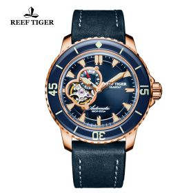 Aurora Sea Wolf Mens Blue Dial Rose Gold Automatic Watch