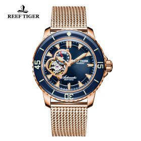 Aurora Sea Wolf Blue Dial Rose Gold Case Automatic Watch