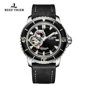 Aurora Sea Wolf Mens Black Dial Solid Steel Automatic Watch