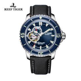Aurora Sea Wolf Blue Dial Stainless Steel Case Black Nylon Watch