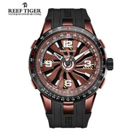 Aurora Turbo Brown Dials PVD Case Men Sports Watch