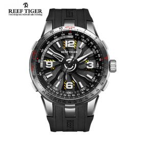Aurora Turbo Black Dials Steel Case Men Sports Watch