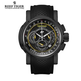 Aurora Top Speed Black Dial Black PVD Chronograph Mens Watch
