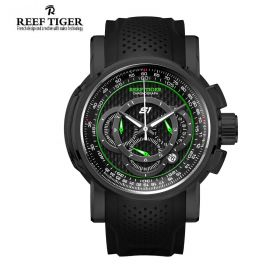 Aurora Top Speed Black Dial Rubber Strap Chronograph Mens Watch
