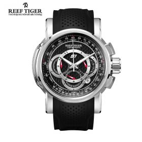 Aurora Top Speed Black Dial Steel Chronograph Mens Watch