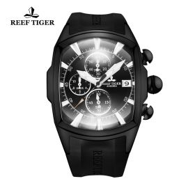 Aurora Tanker T Rubber Strap Black Dial Stick Markers Quartz Watch