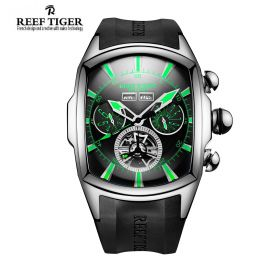 Aurora Tanker II Green Luminous Stick Markers Black Dial Steel Case Automatic Watch