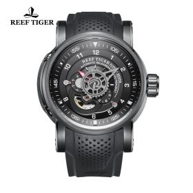 Aurora Machinist PVD Black Dial Black Rubber Strap Watch