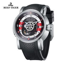 Aurora Machinist Steel Black/White Dial Black Rubber Strap Watch