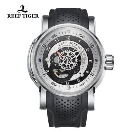 Aurora Machinist Steel Black Rubber Strap Black/White Dial Watch