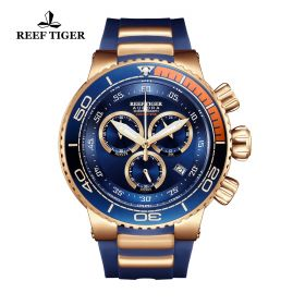 Aurora Grand Ocean Blue Dial Stick/Arabic Numeral Markers Rose Gold Watch