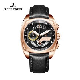 Aurora Formula Race Rose Gold Black Leather Strap Black Dial Watch