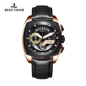 Aurora Formula Race Rose Gold Black Dial Black Leather Strap Watch