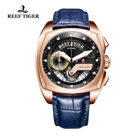 Aurora Formula Race Rose Gold Blue Leather Strap Black Dial Watch