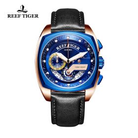 Aurora Formula Race Rose Gold Blue Dial Black Leather Strap Watch
