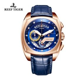 Aurora Formula Race Rose Gold Blue Leather Strap Blue Dial Watch