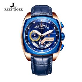 Aurora Formula Race Rose Gold Blue Dial Blue Leather Strap Watch