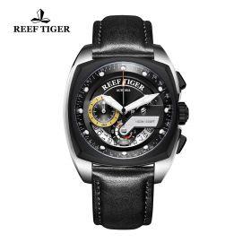 Aurora Formula Race Steel Black Leather Strap Black Dial Watch