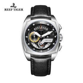 Aurora Formula Race Steel Black Dial Black Leather Strap Watch