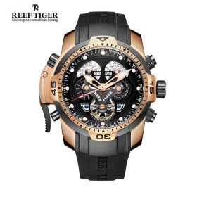 Aurora Concept Complicated Dials Rose Gold Case Men Sports Watch
