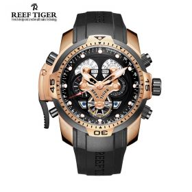 Aurora Concept  Rose Gold Case Complicated Dials Men Sports Watch