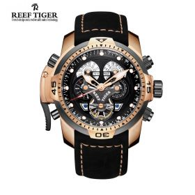 Aurora Concept  Rose Gold Case Black Complicated Dial Black Leather Watch