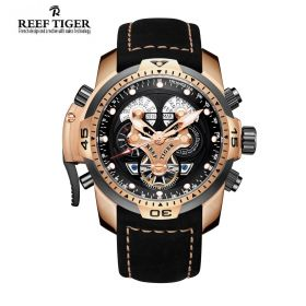 Aurora Concept  Black Complicated Dial Rose Gold Case Black Leather Watch