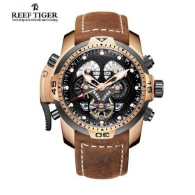 Aurora Concept  Rose Gold Case Black Complicated Dial Brown Leather Watch